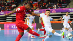 KLAIPEDA, LITHUANIA - SEPTEMBER 16: Alfonso Maquensi of Panoma shoots during the FIFA Futsal World Cup 2021 group D match between Panama and Vietnam at Klaipeda Arena on September 16, 2021 in Klaipeda, Lithuania. (Photo by Chris Ricco - FIFA/FIFA via Getty Images)