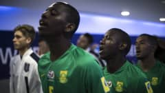 SUWON, SOUTH KOREA - MAY 24: Players of South Africa sing prior to the FIFA U-20 World Cup Korea Republic 2017 group D match between South Africa and Italy at Suwon World Cup Stadium on May 24, 2017 in Suwon, South Korea.  (Photo by Lars Baron - FIFA/FIFA via Getty Images)