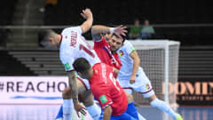 KAUNAS, LITHUANIA - SEPTEMBER 15: Rafael Morillo of Venezuela battles for possession with Minor Cabalceta of Costa Rica during the FIFA Futsal World Cup 2021 group A match between Costa Rica and Venezuela at Kaunas Arena on September 15, 2021 in Kaunas, Lithuania. (Photo by Oliver Hardt - FIFA/FIFA via Getty Images)