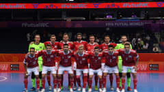VILNIUS, LITHUANIA - SEPTEMBER 12: Football Union Of Russia players pose for a team photo ahead of the FIFA Futsal World Cup 2021 group B match between Football Union Of Russia and Egypt at Vilnius Arena on September 12, 2021 in Vilnius, Lithuania.  (Photo by Alex Caparros - FIFA/FIFA via Getty Images)