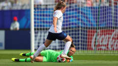 VANNES, FRANCE - AUGUST 17: Lize Kop of Netherlands saves from Lauren Hemp of England during the FIFA U-20 Women's  World Cup France 2018 Quarter Final quarter final match between England and Netherlands at Stade de la Rabine on August 17, 2018 in Vannes, France. (Photo by Catherine Ivill - FIFA/FIFA via Getty Images)