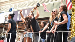 NEW YORK, NEW YORK - JULY 10: Alex Morgan celebrates during a Victory Ticker Tape Parade for the U.S. Women's National Soccer Team down the Canyon of Heroes on July 10, 2019 in the Manhattan borough of New York City. The USA defeated the Netherlands on Sunday to win the 2019 FIFA Women's World Cup France. (Photo by Theo Wargo/Getty Images)