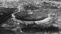 An aerial view of the Estadio Centenario in Montevideo, venue for the first FIFA World Cup Final, 30th July 1930. Uruguay defeated Argentina 4-2 to win the Jules Rimet trophy. (Photo by Bob Thomas/Popperfoto/Getty Images)
