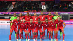 KLAIPEDA, LITHUANIA - SEPTEMBER 13: The Panama team line up for a photo prior to the FIFA Futsal World Cup 2021 group D match between Panama and Czech Republic at Klaipeda Arena on September 13, 2021 in Klaipeda, Lithuania. (Photo by Chris Ricco - FIFA/FIFA via Getty Images)