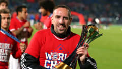 MARRAKECH, MOROCCO - DECEMBER 21:  Franck Ribery of FC Bayern Munchen lifts the FIFA Club World Cup after victory in the FIFA Club World Cup Final between FC Bayern Munchen and Raja Casablanca at Marrakech Stadium on December 21, 2013 in Marrakech, Morocco.  (Photo by Alex Livesey - FIFA/FIFA via Getty Images)