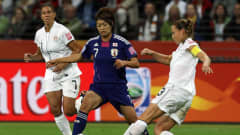 FRANKFURT AM MAIN, GERMANY - JULY 17:  Kozue Ando (L) of Japan and Christie Rampone (R) of USA battle for the ball during the FIFA Women's World Cup Final match between Japan and USA at the FIFA World Cup stadium Frankfurt on July 17, 2011 in Frankfurt am Main, Germany.