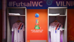 VILNIUS, LITHUANIA - SEPTEMBER 20: General view inside the Paraguay dressing room prior to the FIFA Futsal World Cup 2021 group E match between Japan and Paraguay at Vilnius Arena on September 20, 2021 in Vilnius, Lithuania. (Photo by Alex Caparros - FIFA/FIFA via Getty Images)