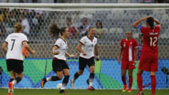 BELO HORIZONTE, BRAZIL - AUGUST 16: Sara Daebritz (2nd L) of Germany celebrates with her team mates after scoring her team's second goal during the Women's Semi Final match between Canada and Germany on Day 11 of the Rio2016 Olympic Games at Mineirao Stadium on August 16, 2016 in Belo Horizonte, Brazil.  (Photo by Joern Pollex - FIFA/FIFA via Getty Images)