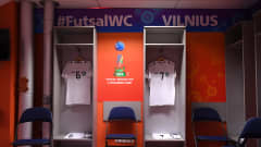 VILNIUS, LITHUANIA - SEPTEMBER 18: A general view of the Uzbekistan dressing room prior to the FIFA Futsal World Cup 2021 group B match between Egypt and Uzbekistan at Vilnius Arena on September 18, 2021 in Vilnius, Lithuania. (Photo by Alex Caparros - FIFA/FIFA via Getty Images)