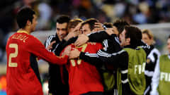 RUSTENBURG, SOUTH AFRICA - JUNE 28: Daniel Guiza of Spain celebrates with his team mates after scoring his team's second goal during the FIFA Confederations Cup 3rd Place Playoff between Spain and South Africa at the Royal Bafokeng Stadium on June 28, 2009 in Rustenburg, South Africa. (Photo by Jasper Juinen/Getty Images)