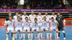 KLAIPEDA, LITHUANIA - SEPTEMBER 14: The Spain team line up for a photo prior to the FIFA Futsal World Cup 2021 group E match between Paraguay and Spain at Klaipeda Arena on September 14, 2021 in Klaipeda, Lithuania. (Photo by Chris Ricco - FIFA/FIFA via Getty Images)