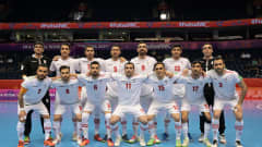 VILNIUS, LITHUANIA - SEPTEMBER 14: The IR Iran team line up for a photo prior to the FIFA Futsal World Cup 2021 group F match between Serbia and IR Iran at Vilnius Arena on September 14, 2021 in Vilnius, Lithuania. (Photo by Alexander Scheuber - FIFA/FIFA via Getty Images)