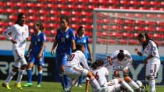 Team members of Venezuela celebrate their equalizing goal during the FIFA U-17 Women's World Cup 2014 3rd place play off match between Venezuela and Italy at Estadio Nacional on April 4, 2014 in San Jose, Costa Rica.  (Photo by Martin Rose - FIFA/FIFA via Getty Images)