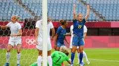 RIFU, MIYAGI, JAPAN - JULY 27: Anna Anvegard #19 of Team Sweden celebrates after scoring their side's first goal during the Women's Group G match between New Zealand and Sweden on day four of the Tokyo 2020 Olympic Games at Miyagi Stadium on July 27, 2021 in Rifu, Miyagi, Japan. (Photo by Alex Livesey - FIFA/FIFA via Getty Images)