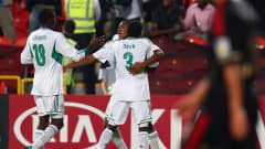 ABU DHABI, UNITED ARAB EMIRATES - NOVEMBER 08:  Musa Yahaya (back) of Nigeria celebrates his team's first goal with team mates Taiwo Awoniyi (L) and Samuel Okon during the FIFA U-17 World Cup UAE 2013 Final between Nigeria and Mexico at Mohamed Bin Zayed Stadium on November 8, 2013 in Abu Dhabi, United Arab Emirates.  (Photo by Alex Grimm - FIFA/FIFA via Getty Images)