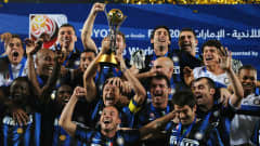 ABU DHABI, UNITED ARAB EMIRATES - DECEMBER 18:  Javier Zanetti of FC Internazionale Milano holds aloft the FIFA Club World Cup trophy after winning the final match against TP Mazembe Englebert with 3-0 at Zayed Sports City on December 18, 2010 in Abu Dhabi, United Arab Emirates.  (Photo by Jasper Juinen - FIFA/FIFA via Getty Images)