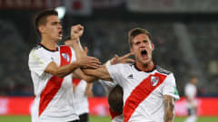 ABU DHABI, UNITED ARAB EMIRATES - DECEMBER 22:  Bruno Zuculini of River Plate celebrates with team mates after scoring his team's first goal during the FIFA Club World Cup UAE 2018 3rd Place match between River Plate and Kashima Antlers at the Zayed Sports City Stadium on December 22, 2018 in Abu Dhabi, United Arab Emirates.  (Photo by Francois Nel/Getty Images)