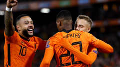 ROTTERDAM - (lr) Memphis Depay of Holland, Denzel Dumfries of Holland, Noa Lang of Holland celebrate 4-0 during the World Cup qualifier match between the Netherlands and Gibraltar at Feyenoord Stadium de Kuip on October 11, 2021 in Rotterdam, Netherlands. ANP MAURICE VAN STEEN (Photo by ANP Sport via Getty Images)