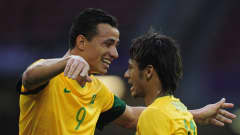 CARDIFF, WALES - JULY 26:  Neymar of Brazil celebrates his goal during the Group C Men's Football match between Brazil and Egypt at Millennium Stadium on July 26, 2012 in Cardiff, Wales.  (Photo by Jamie McDonald - FIFA/FIFA via Getty Images) *** Local Caption *** Neymar