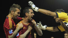 PAPEETE, FRENCH POLYNESIA - SEPTEMBER 27:  Juanma of Spain celebrates with team-mate Llorenc after scoring during the FIFA Beach Soccer World Cup Tahiti 2013 Semi Final match between Spain and Brazil at the Tahua To'ata stadium on September 27, 2013 in Papeete, French Polynesia.  (Photo by Shaun Botterill - FIFA/FIFA via Getty Images)