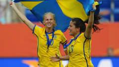 SINSHEIM, GERMANY - JULY 16:  Sofia Jakobsson (L) and Madelaine Edlund of Sweden celebrate victory in the FIFA Women's World Cup 2011 3rd Place Playoff between Sweden and France at Rhein-Neckar-Arena on July 16, 2011 in Sinsheim, Germany.  (Photo by Mike Hewitt - FIFA/FIFA via Getty Images)