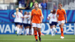 VANNES, FRANCE - AUGUST 17: Victoria Pelova of Netherlands reacts as Georgia Stanway of England celebrates her team's second goal during the FIFA U-20 Women's World Cup France 2018 Quarter Final quarter final match between England and Netherlands at Stade de la Rabine on August 17, 2018 in Vannes, France.  (Photo by Alex Grimm - FIFA/FIFA via Getty Images)