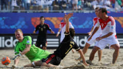 RAVENNA, ITALY - SEPTEMBER 08: Antonio Barbosa of Mexico scores his teams first goal during the FIFA Beach Soccer World Cup Quarter Final match between Russia and Mexico at Stadium del Mare on September 8, 2011 in Ravenna, Italy.  (Photo by Lars Baron - FIFA/FIFA via Getty Images)