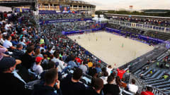 MOSCOW, RUSSIA - AUGUST 22: General view of the stadium during the FIFA Beach Soccer World Cup 2021 group C match between Brazil and El Salvador at Luzhniki Beach Soccer Stadium on January 1, 0001 in Moscow, Russia. (Photo by Oleg Nikishin - FIFA/FIFA via Getty Images)