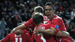 Adelaide United celebrates their first goal during the AFC Asian Champions League match between Adelaide United and Nagoya Grampus at Hindmarsh Stadium on May 29, 2012 in Adelaide, Australia.