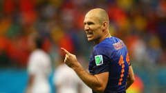 SALVADOR, BRAZIL - JUNE 13:  Arjen Robben of the Netherlands celebrates after scoring a goal during the 2014 FIFA World Cup Brazil Group B match between Spain and Netherlands at Arena Fonte Nova on June 13, 2014 in Salvador, Brazil.  (Photo by Alex Grimm - FIFA/FIFA via Getty Images)
