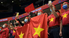 VILNIUS, LITHUANIA - SEPTEMBER 22: Fans of Vietnam look on during the FIFA Futsal World Cup 2021 Round of 16 match between Football Union of Russia and Vietnam at Vilnius Arena on September 22, 2021 in Vilnius, Lithuania. (Photo by Alexander Scheuber - FIFA/FIFA via Getty Images)