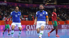 VILNIUS, LITHUANIA - SEPTEMBER 26: Rodrigo of Brazil celebrates after scoring their sides first goal during the FIFA Futsal World Cup 2021 Quarter Final match between Morocco and Brazil at Vilnius Arena on September 26, 2021 in Vilnius, Lithuania. (Photo by Alex Caparros - FIFA/FIFA via Getty Images)