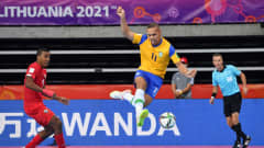 KLAIPEDA, LITHUANIA - SEPTEMBER 19: Ferrao of Brazil shoots during the FIFA Futsal World Cup 2021 group D match between Brazil and Panama at Klaipeda Arena on September 19, 2021 in Klaipeda, Lithuania. (Photo by Chris Ricco - FIFA/FIFA via Getty Images)