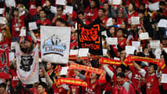 YOKOHAMA, JAPAN - DECEMBER 20:  Guangzhou Evergrande FC fans show their support during the FIFA Club World Cup 3rd Place Match between Sanfrecce Hiroshima and Guangzhou Evergrande FC at International Stadium Yokohama on December 20, 2015 in Yokohama, Japan.  (Photo by Mike Hewitt - FIFA/FIFA via Getty Images)