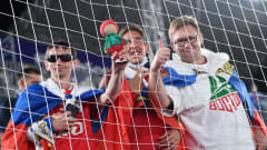 MOSCOW, RUSSIA - AUGUST 21: Fans pose for a photo during the FIFA Beach Soccer World Cup 2021 group A match between Football Union Of Russia and Paraguay at Luzhniki Beach Soccer Stadium on August 21, 2021 in Moscow, Russia. (Photo by Octavio Passos - FIFA/FIFA via Getty Images)