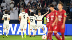 ABU DHABI, UNITED ARAB EMIRATES - DECEMBER 19: Gareth Bale of Real Madrid celebrates scoring the third goal and his hat-trick with Marcelo of Real Madrid during the FIFA Club World Cup semi-final match between Kashima Antlers and Real Madrid at Zayed Sports City Stadium on December 19, 2018 in Abu Dhabi, United Arab Emirates. (Photo by Michael Regan - FIFA/FIFA via Getty Images)
