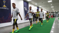 SEOGWIPO, SOUTH KOREA - MAY 26:  Azariah Soromon of Vanuatu and team mates enter the pitch for their warm up during the FIFA U-20 World Cup Korea Republic 2017 group B match between Germany and Vanuatu at Jeju World Cup Stadium on May 26, 2017 in Seogwipo, South Korea.  (Photo by Christopher Lee - FIFA/FIFA via Getty Images)