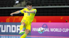 KAUNAS, LITHUANIA - SEPTEMBER 23: Douglas of Kazakhstan scores their team's second goal during the FIFA Futsal World Cup 2021 Round of 16 match between Kazakhstan and Thailand at Kaunas Arena on September 23, 2021 in Kaunas, Lithuania. (Photo by Angel Martinez - FIFA/FIFA via Getty Images)