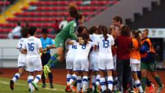 SAN JOSE, COSTA RICA - MARCH 27: Team members of Italy celebrate their 1st goal during the FIFA U-17 Women's World Cup 2014 quarter final match between Ghana and Italy at Estadio Nacional on March 27, 2014 in San Jose, Costa Rica.  (Photo by Martin Rose - FIFA/FIFA via Getty Images)