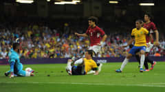 CARDIFF, WALES - JULY 26:  Leandro Damiao of Brazil scores his goal during the Group C Men's Football match between Brazil and Egypt at Millennium Stadium on July 26, 2012 in Cardiff, Wales.  (Photo by Jamie McDonald - FIFA/FIFA via Getty Images) *** Local Caption *** Leandro Damiao