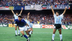 1990 World Cup Semi Final, Naples, Italy, 3rd July, 1990, Italy 1 v Argentina 1 (Argentina win 3-2 on penalties), Italy's Gianluca Vialli races away to celebrate after Salvatore Schillaci scored the first goal as Argentine players protest (Photo by Bob Thomas/Getty Images)