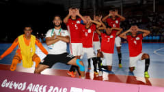 BUENOS AIRES, ARGENTINA - OCTOBER 18: The team of Egypt celebrates after the Men's Futsal 3rd place match between Argentina and Egypt during the Buenos Aires Youth Olympics 2018 at Tecnopolis on October 18, 2018 in Buenos Aires, Argentina.  (Photo by Martin Rose - FIFA/FIFA via Getty Images)