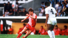 Michael Laudrup in action in Denmark's 6-1 demolition of Uruguay in Neza on 8 June. Five days after this victory, the Danish Dynamite defeated West Germany 2-0 to secure a place in the knockout stage. Although they came undone against Spain in the Round of 16, Mexico 1986 proved to be an unforgettable FIFA World Cup™ debut for Denmark.