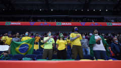 VILNIUS, LITHUANIA - SEPTEMBER 26: Fans of Brazil look on ahead of the FIFA Futsal World Cup 2021 Quarter Final match between Morocco and Brazil at Vilnius Arena on September 26, 2021 in Vilnius, Lithuania. (Photo by Alex Caparros - FIFA/FIFA via Getty Images)