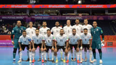 VILNIUS, LITHUANIA - SEPTEMBER 12: Egypt players pose for a team photo ahead of the FIFA Futsal World Cup 2021 group B match between Football Union Of Russia and Egypt at Vilnius Arena on September 12, 2021 in Vilnius, Lithuania.  (Photo by Alexander Scheuber - FIFA/FIFA via Getty Images)