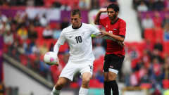 MANCHESTER, ENGLAND - JULY 29: Chirs Wood (L) of New Zealland and Mohamed El Neny of Egypt compete for the ball during the Men's Football first round Group C Match between Egypt and New Zealand on Day 2 of the London 2012 Olympic Games at Old Trafford on July 29, 2012 in Manchester, England.  (Photo by Joern Pollex - FIFA/FIFA via Getty Images) *** Local Caption *** Chirs Wood; Mohamed El Neny