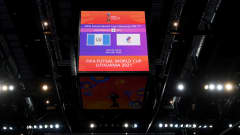 KAUNAS, LITHUANIA - SEPTEMBER 18: A general view inside the stadium prior to the FIFA Futsal World Cup 2021 group B match between Guatemala and Football Union Of Russia at Kaunas Arena on September 18, 2021 in Kaunas, Lithuania. (Photo by Oliver Hardt - FIFA/FIFA via Getty Images)