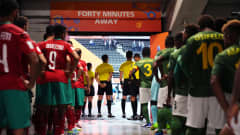 KAUNAS, LITHUANIA - SEPTEMBER 13: Players and match officials wait in the tunnel prior to the FIFA Futsal World Cup 2021 group C match between Morocco and Solomon Islands at Kaunas Arena on September 13, 2021 in Kaunas, Lithuania. (Photo by Angel Martinez - FIFA/FIFA via Getty Images)