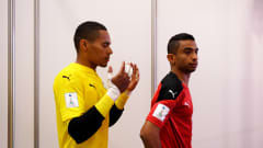 VILNIUS, LITHUANIA - SEPTEMBER 15: Gamal Abdelnaser and Mostafa Eid of Egypt wait in the tunnel prior to the FIFA Futsal World Cup 2021 group B match between Egypt and Guatemala at Vilnius Arena on September 15, 2021 in Vilnius, Lithuania. (Photo by Alex Caparros - FIFA/FIFA via Getty Images)