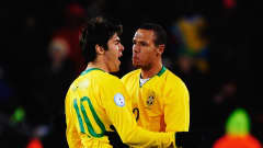 JOHANNESBURG, SOUTH AFRICA - JUNE 28: Luis Fabiano of Brazil celebrates scoring his team's first goal with team mate Kaka during the FIFA Confederations Cup Final between USA and Brazil at the Ellis Park Stadium on June 28, 2009 in Johannesburg, South Africa. (Photo by Jamie McDonald/Getty Images)